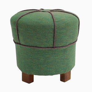 Pouf Art Déco vintage verde, anni '30