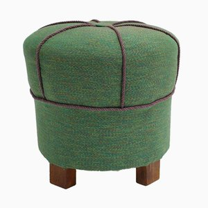 Vintage Green Art Deco Pouf, 1930s