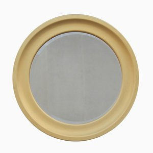 Espejo italiano redondo de aluminio dorado, años 60