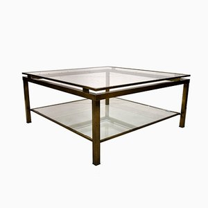 Vintage Two-Tier Brass Coffee Table by Maison Jansen