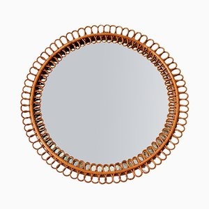 Mid-Century Italian Wall Mirror with Bamboo Rattan Frame, 1950s