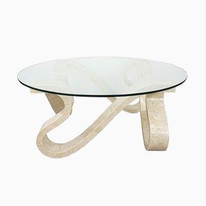 Couchtisch mit Gestell aus Steinarbeit mit Intarsien & Tischplatte aus konischem Glas, 1970er