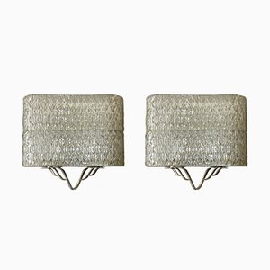 Brass & Glass Wall Sconces, 1950s, Set of 2