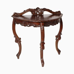 Antique Venetian Mahogany Demilune Console by Eugenio Quarti
