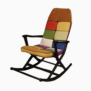 Italian Lacquered Wood Rocking Chair, 1960s
