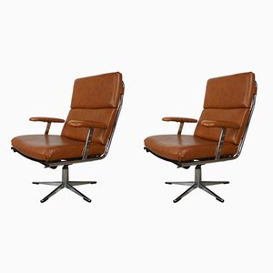 Vintage Chrome & Imitation Leather Swivel Armchairs, Set of 2