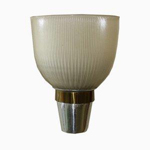 Applique LP5 in vetro opalino, ottone e metallo di Ignazio Gardella per Azucena, anni '50