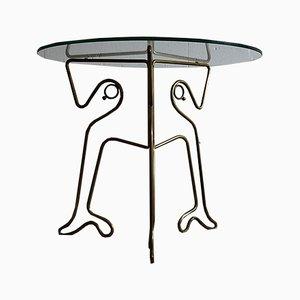 Mesa auxiliar italiana vintage de vidrio y latón