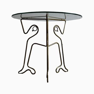 Vintage Italian Brass and Glass Side Table