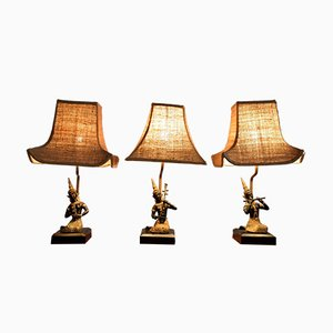 Lámparas de mesa vintage con figuras femeninas tocando instrumentos de Maison Jansen. Juego de 23