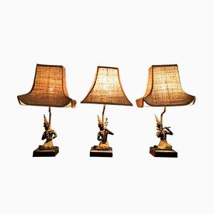 Lampes de Bureau Femme Musicienne Vintage par Maison Jansen, Set de 3
