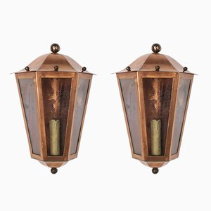 Vintage Copper & Glass Lantern Sconces, Set of 2