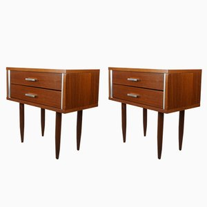 Teak & Metal Bedside Tables, 1950s, Set of 2