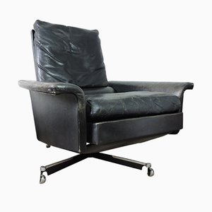 Mid-Century Black Leather Swivel Chair
