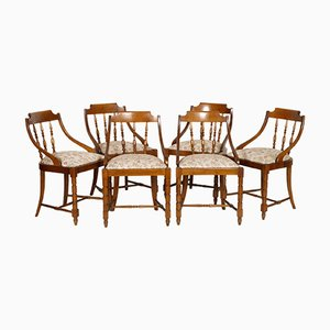Italian Solid Walnut Gondola Dinner Chairs, 1950s, Set of 6