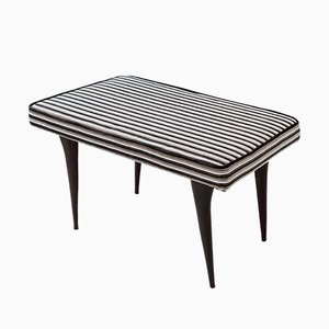 Black, Grey and White Striped Velvet Bench, 1950s