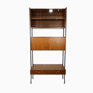 Teak and Black Metal Shelving Unit, 1950s
