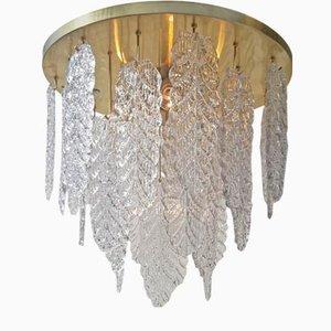 Lámpara de araña Graniglia vintage de latón y cristal de Murano