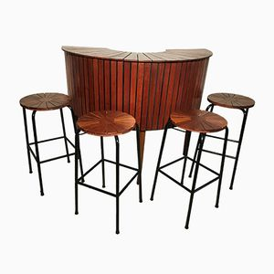 Mueble bar vintage de teca con cuatro taburetes, años 60