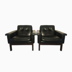 Vintage Sessel aus Leder und Palisander von Asko, 2er Set
