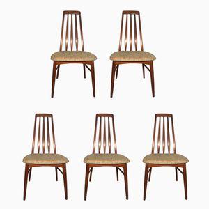 Teak Eva Dining Chairs by Niels Koefoed, 1960s, Set of 5