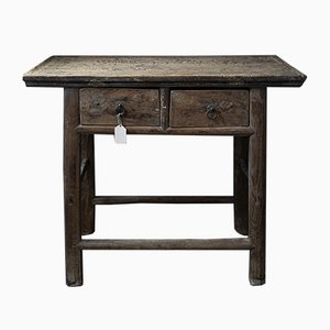 Antique Chinese Elm Side Table with Drawers