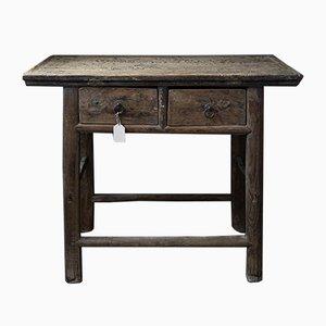 Tavolino antico in olmo con cassetti, Cina