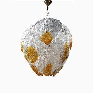 Vintage Kronleuchter mit Anhängern aus Muranoglas in Blätter-Optik von Mazzega
