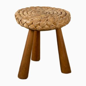 Vintage French Wicker Stool