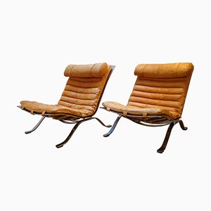Scandinavian Natural Cognac-Colored Leather Ari Lounge Chairs by Arne Norell, 1960s, Set of 2