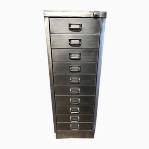Vintage Industrial 10-Drawer Filing Cabinet