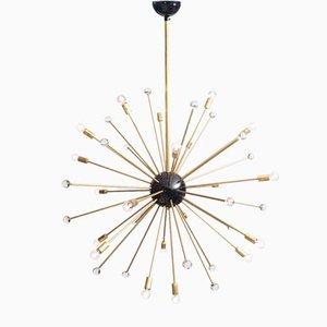 Lampadario Sputnik vintage in ottone e vetro di Murano con 40 braccia