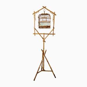 Cage à Oiseaux Mid-Century en Rotin