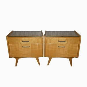 Bedside Cabinets with Glass Top, 1950s , Set of 2