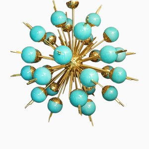 Vintage Turquoise Blue Glass and Brass Sputnik Chandelier