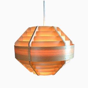 Lámpara colgante de madera de Hans-Agne Jakobsson para Elyssett AB, años 60