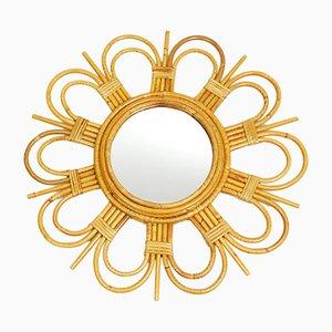 Espejo en forma de sol de ratán, años 70