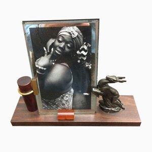 Kleiner Vintage Art Deco Bilderrahmen aus Holz, Bakelit und Messing