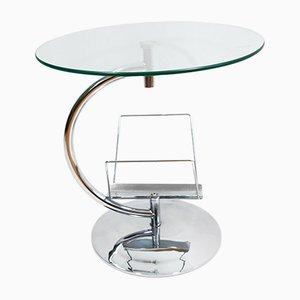 Tavolino da caffè in vetro con portariviste di Kokoon Design, anni '80