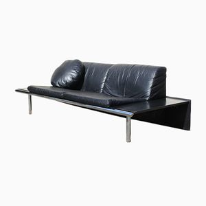 Vintage Mission Black Leather Sofa from Harvink