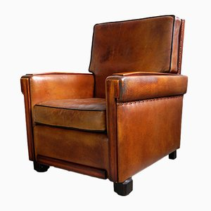 Art Deco Leather Armchair with Mahogany Details, 1930s