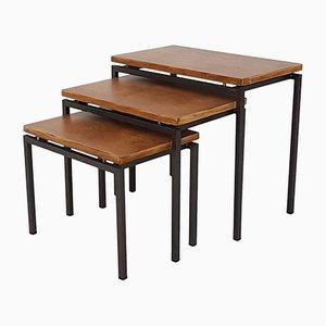 Mesas nido vintage de teca y metal, años 60