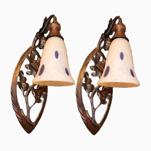 Antique Art Nouveau Sconces from Daum, Set of 2