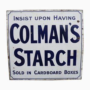 Cartel publicitario de Colman's Starch esmaltado, años 20