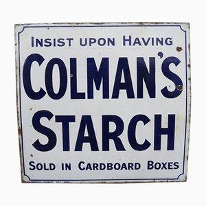 Emailliertes Werbeschild für Colman's Starch, 1920er