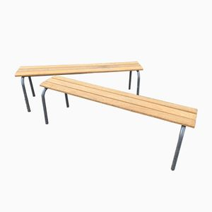 Vintage School Benches from Mullca, Set of 2
