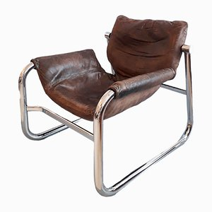 Leather & Chrome Lounge Chair by Maurice Burke for Arkana, 1970s