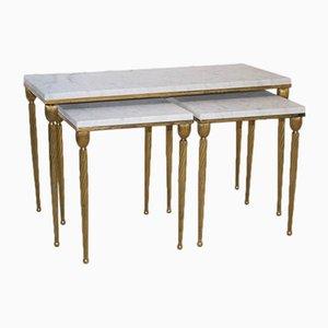 Mesas nido italianas vintage doradas con tableros de mármol