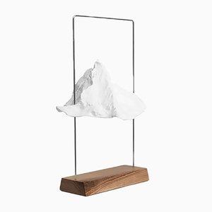 Große silberne Matterlight Tischlampe aus Eschenholz von Boris Dennler