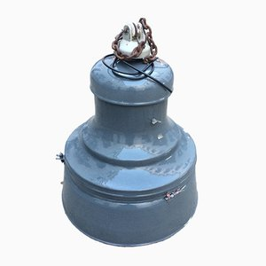 Große industrielle emaillierte Vintage Lampe